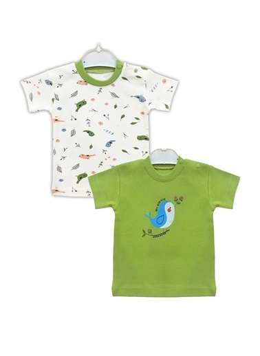 By Leyal For Kids Kuş Detaylı 2Li Tshırt Takım-4311 Yeşil